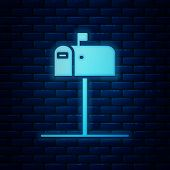 Glowing Neon Open Mail Box Icon Isolated On Brick Wall Background. Mailbox Icon. Mail Postbox On Pol poster