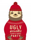 Sloth Dressed Up In Hat And Funny Warm Pullover With Lettering Ugly Sweater Christmas Party Isolated poster