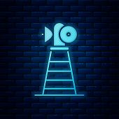 Glowing Neon Antenna Icon Isolated On Brick Wall Background. Radio Antenna Wireless. Technology And  poster