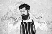 Barber Tools. Barber In Apron Hairdresser Equipment Blade And Scissors. Facial Hair. Bearded Barber  poster