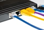 pic of cat5  - Close macro focus on internet lan cat5 cables as concept for cyberwarfare - JPG