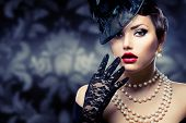 stock photo of damask  - Retro Woman Portrait - JPG