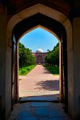 Humayun's Tomb entrance -  view through gates. Delhi, India