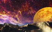stock photo of nebula  - This image shows a landscape from a unknown planet with nebulae - JPG