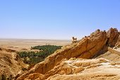 stock photo of oasis  - Sculpture of barbary sheep in mountain oasis Chebika Tunisia - JPG