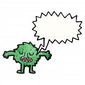 little furry green monster cartoon poster