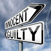 innocent or guilty, presumption of innocence until proven guilt as charged in a fair trial. Crime pu