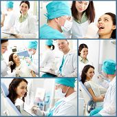 Collage of male dentist and his assistant at work