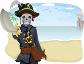 picture of pirate sword  - Illustration of a Uniformed Pirate Pointing with His Sword Raised - JPG