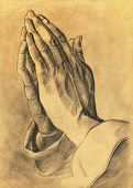 stock photo of ceremonial clothing  - two hands in prayer pose - JPG