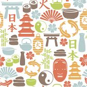 image of hieroglyphs  - seamless pattern with asian icons - JPG