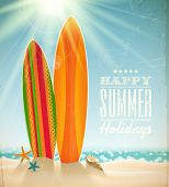stock photo of sunny beach  - Vector holidays vintage design  - JPG