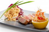 stock photo of duck breast  - Duck Breast with Fried Rice - JPG