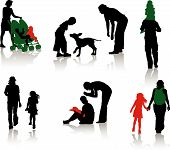 stock photo of happy dog  - The isolated silhouettes of parents with children - JPG