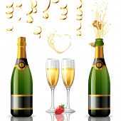 Open and closed bottle of champagne, golden streamers and 2 full glasses. EPS 10.
