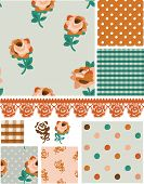 Vector Floral Rose Seamless Patterns and Elements.  Use to create fills for digital projects or prin