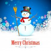 foto of snowman  - illustration of Snowman with broom in Christmas Snowflakes Background - JPG