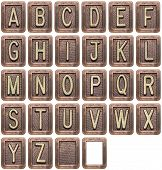 stock photo of alphabet  - Metal alphabet letters isolated on white - JPG