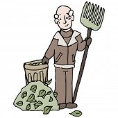 An image of a senior man raking a pile of leaves in winter.