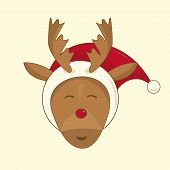 picture of rudolph  - Xmas illustration of Rudolph the red nosed reindeer - JPG
