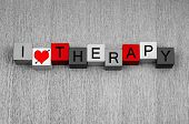stock photo of insane  - I Love Therapy as a sign for therapists psychology - JPG