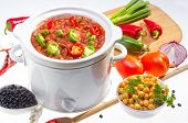 image of pinto  - Pinto and garbanzo beans cooked in slow cooker with vegetables - JPG