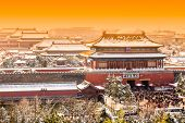 stock photo of winter palace  - The Forbidden City in winter - JPG