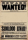 image of cowboy  - Vector vintage wanted poster template - JPG