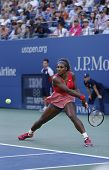 Seventeen times Grand Slam champion Serena Williams during her final match at US Open 2013