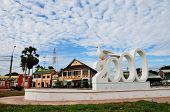 Central square of city in the morning in Kampot, southern Cambodia