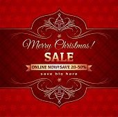 image of alder-tree  - red christmas background and label with sale offer vector illustration - JPG