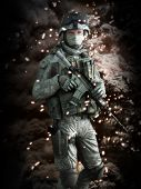 pic of battlefield  - American soldier with a battlefield background - JPG