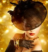 stock photo of vintage jewelry  - Glamour Woman Portrait over Holiday Gold Background - JPG
