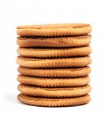 Cookies in stack isolated on white background