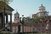picture of turin  - View of the Church of Gran Madre and the Monte dei Cappuccini in Turin - JPG