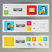 Set of flat design web banners with icons for web and mobile services and apps.