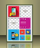 Vector  business brochure or magazine cover. Busines and service icons.