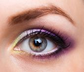 Closeup Of Beautiful Eye With Glamorous Makeup
