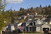 Residential Houses On A Hill Clackamas Oregon.