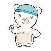 cartoon polar bear wearing hat