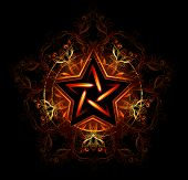 foto of wiccan  - Wiccan fiery star decorated with red pattern on a black background - JPG