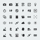 stock photo of lamp shade  - Vector camera functions mini icons set on grey background - JPG