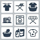 stock photo of dirty-laundry  - Vector isolated laundry icons set over white - JPG