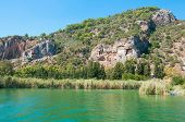 image of dalyan  - Turkish Lycian tombs on the Dalyan River - JPG