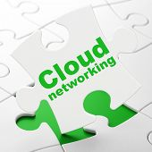 Cloud technology concept: Cloud Networking on puzzle background