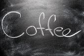 Handwritten Message On Chalkboard Written Title Coffee