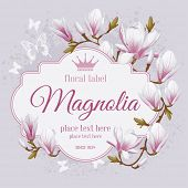 Vintage vector card with spring flowers of magnolia in pastel colors