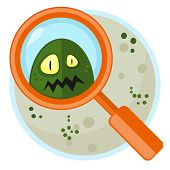 image of germs  - Petri plate and germ watching through magnifier - JPG