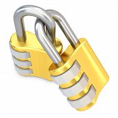 3D Golden Code Padlocks