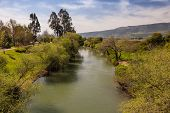 stock photo of golan-heights  - Beautiful landscape of the mountains of Galillee and Golan Heights via Jordan River - JPG